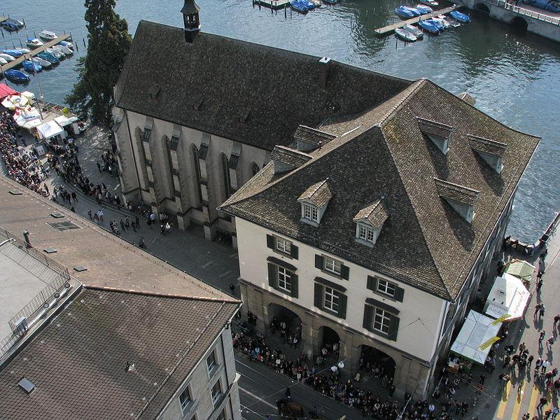 File:Zürich - Helmhaus-Wasserkirche - Sicht vom Grossmünster Karlsturm IMG 6394.JPG