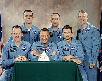 David Scott - The prime and backup crews for Apollo 1. Scott is standing at left.