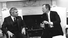 First elected Bulgarian president Zhelev meets with George H.W. Bush in 1990