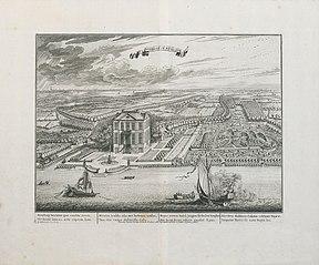 Zicht op het kasteeltje van Herbeke (in Hemiksem) van Jacob Jordaens