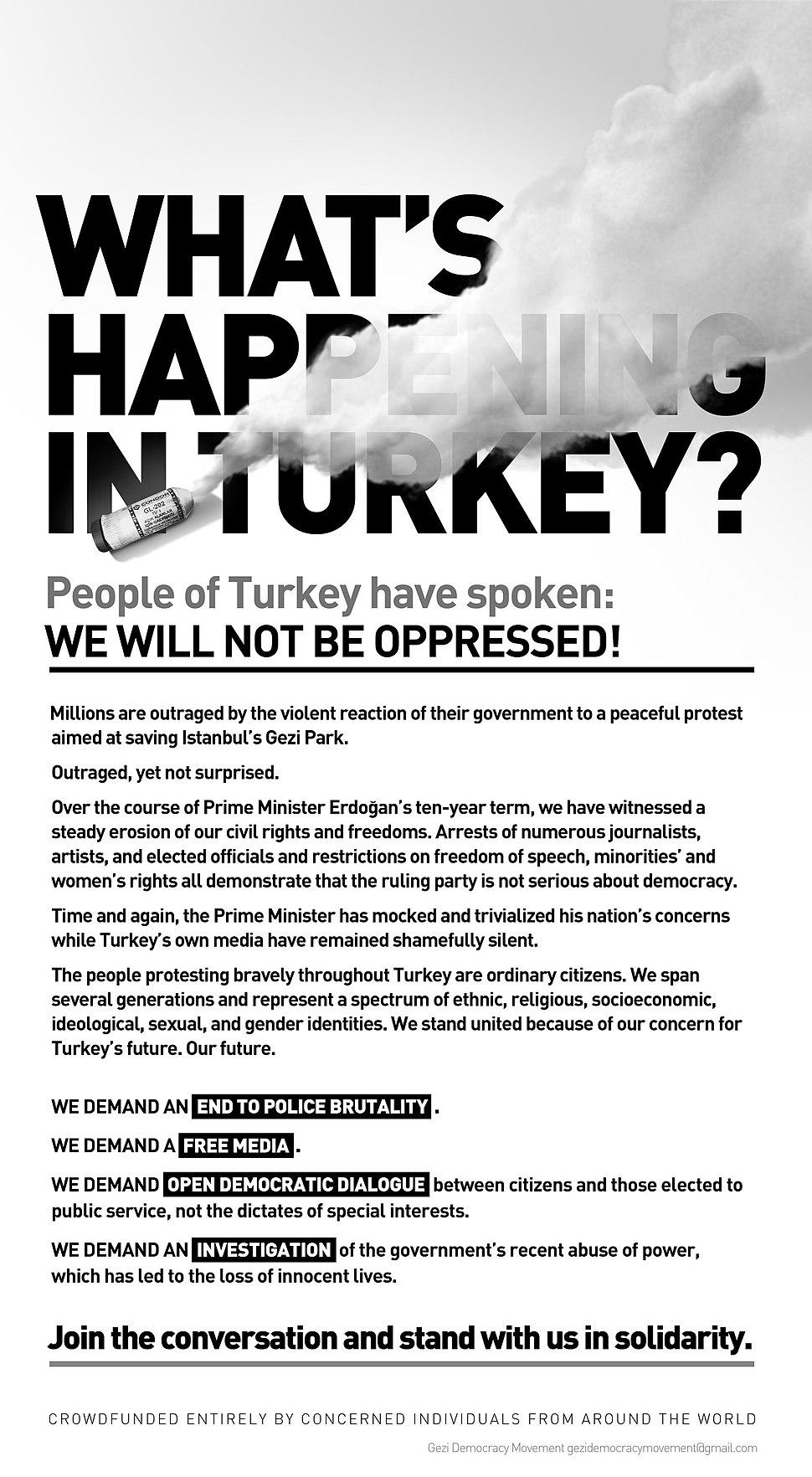 """What's Happening in Turkey?"" Manifesto"