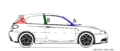 """ 15 - ITALY - Automobile body pillars - rear central and front struts - Alfa Romeo automobile line black and white drawings diagram - 147 GTA facing left (color).png"