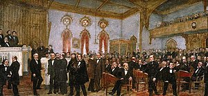 'Signing the Ordinance of Secession of Louisiana, January 26, 1861', oil on canvas painting by Enoch Wood Perry, Jr., 1861