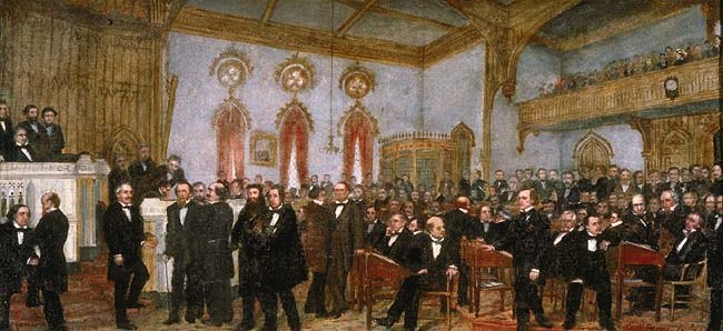 %27Signing the Ordinance of Secession of Louisiana, January 26, 1861%27, oil on canvas painting by Enoch Wood Perry, Jr., 1861