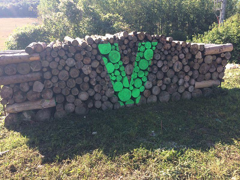 Logo du Vent des Forêts (ici, marquage à la peinture verte sur un tas de bois situé sur le parking de l'association)