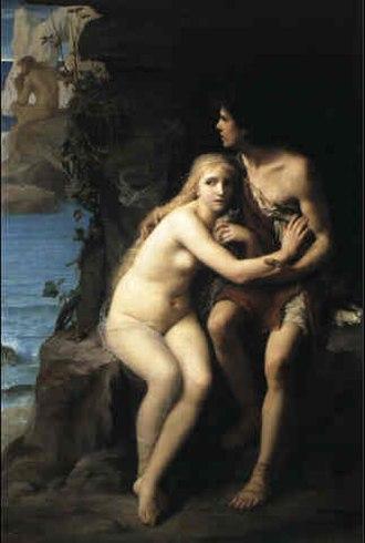 Acis and Galatea (mythology) - Image: Édouard Zier Acis et Galathée se cachant de Polyphème