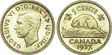 Le premier timbre Castor du Canada – le castor 3 pence. dans CASTOR 220px-%C3%89preuve_de_5_cents_en_laiton_du_Canada_repr%C3%A9sentant_George_VI