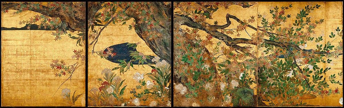 Erable entoure d'herbes d'automne (detail) par Hasegawa T?haku.jpg