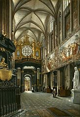 View of the choir and the nave of the Wawel Cathedral