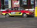 Škoda 110R Coupé used as an advertisement of a Subway restaurant in Prague.jpg
