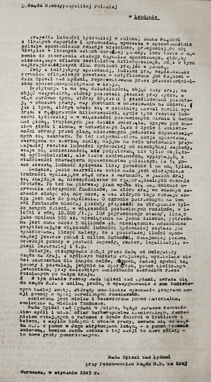 Żegota - Żegota Letter from January 1943 to Polish government-in-exile. Request for funds to aid.