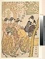 扇屋内春日野-The Oiran Kasugano of Ogiya on Parade under Blossoming Cherry Trees MET DP135653.jpg
