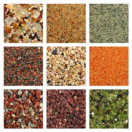Global collage of sand samples. There is one square centimeter of sand on every sample photo. Sand samples row by row from left to right: 1. Glass sand from Kauai, Hawaii 2. Dune sand from the Gobi Desert 3. Quartz sand with green glauconite from Estonia 4. Volcanic sand with reddish weathered basalt from Maui, Hawaii 5. Biogenic coral sand from Molokai, Hawaii 6. Coral pink sand dunes from Utah 7. Volcanic glass sand from California 8. Garnet sand from Emerald Creek, Idaho 9. Olivine sand from Papakolea, Hawaii. 00065 sand collage.jpg