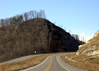 U.S. Route 52 in West Virginia - The Crum, West Virginia bypass. It is striped quite oddly, with two southbound and one northbound lane.