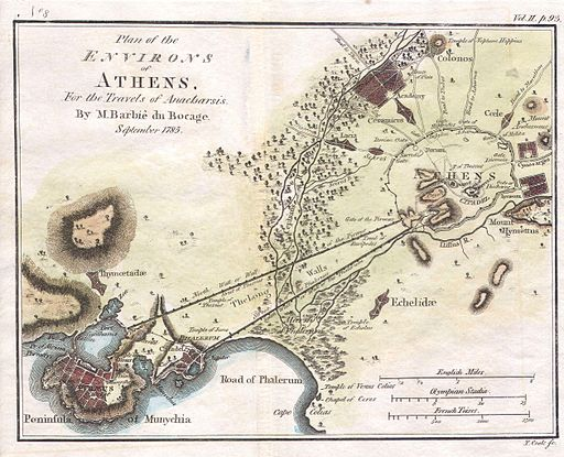 1784 Bocage Map of the City of Athens in Ancient Greece - Geographicus - AthensPlan2-white-1793