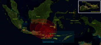 The estimated volcanic ashfall regions during the 1815 eruption. The red areas show thickness of volcanic ashfall. The outermost region (1 cm thickness) reached Borneo and the Sulawesi islands.