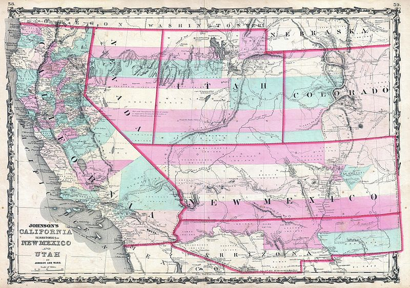 File:1862 Johnson Map of California, Nevada, Utah, Colorado, New Mexico and Arizona - Geographicus - CANMUT-johnson-1862.jpg