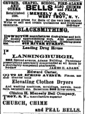 Meneely Bell Foundry - Business cards for both of the competing Meneely bell foundries appearing in the Troy Daily Times on May 20, 1891.