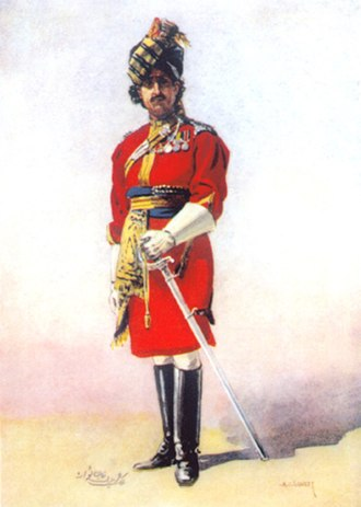 19th Lancers - The Hon. Malik Umar Hayat Khan Tiwana, 18th King George's Own Lancers. Watercolour by AC Lovett, c. 1910.