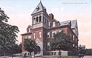 William Allen High School - The first Allentown High School building, opened in 1895.  Today the building is known as Central Elementary School. The 1895 building no longer exists as it burned down in late 1967.