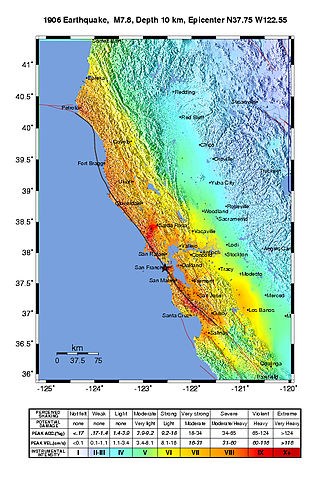 1906 San Francisco earthquake - USGS ShakeMap showing the earthquake's intensity.