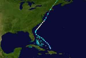 1908 Atlantic hurricane season - Image: 1908 Atlantic hurricane 2 track