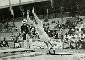 Standing long jump - Platt Adams during the standing long jump competition at the 1912 Summer Olympics
