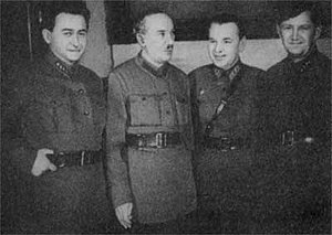 Yakov Agranov - Yakov Agranov in 1934. From left to right: Agranov, Yagoda, unknown, and Redens.
