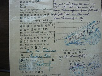 History of writing in Vietnam - Vietnamese birth certificate in 1938 showing different scripts in descending frequency: quốc ngữ, chữ nôm, chữ nho, French