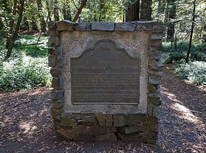 Roberts Regional Recreation Area - Image: 1986 Memorial plaque for California Historical Landmark Blossom Rock Navigation Trees