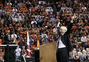 Giovanni speaks to a group of mourners at Cassell Coliseum following the Virginia Tech massacre