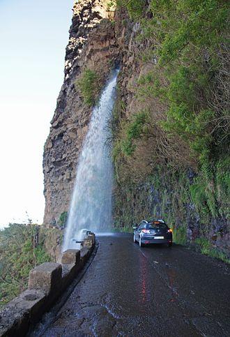 Ponta do Sol, Madeira - Cascata dos Anjos Waterfall on old road in Anjos, Ponta do Sol