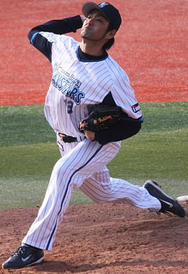 20130317 Teruaki Yoshikawa, pitcher of the Yokohama DeNA BayStars, at Yokohama Stadium.JPG