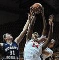 2013 Virginia Tech - Robert Morris - Uju Ugoka going for the rebound.jpg