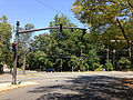 2014-08-27 12 49 01 Traffic signal at the intersection of Parkside Avenue (Mercer County Route 636), Bellevue Avenue and the entrance to Cadwalder Park in Trenton, New Jersey.JPG