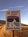 2014-11-11 16 06 47 National Forest Scenic Byway sign at the north end of Lamoille Canyon Road near Lamoille, Nevada.JPG