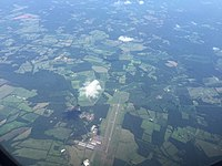2016-07-31 14 59 27 View of Warrenton–Fauquier Airport in southern Fauqier County, Virginia from an airplane traveling from Washington Dulles International Airport to Atlanta Hartsfield International Airport.jpg