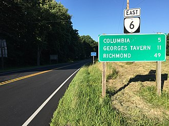 Virginia State Route 6 - View east along SR 6 at US 15 in Fluvanna County
