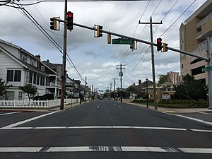 Maryland Route 528 - View north along MD 378 at 7th Street in southern Ocean City