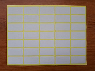 Adhesive label - A sheet containing adhesive labels