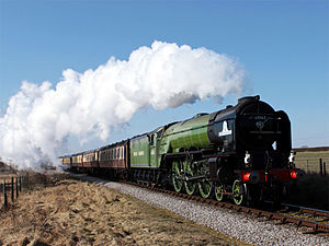 Watercress Line - 60163 ''Tornado'' climbs the bank heading towards Ropley during the Spring Steam Gala in 2010.