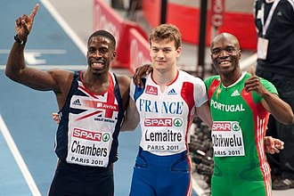 2011 European Athletics Indoor Championships - The men's 60 m medallists (l–r): Chambers, Lemaitre, Obikwelu