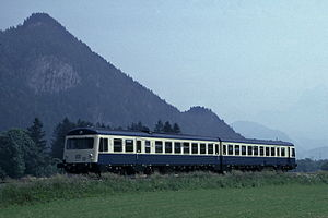 Ausserfern Railway - 1987: a Class 628.0 multiple unit near Schönbichl