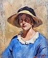 81 - Autoportrait au chapeau de paille - Luce Boyals - Musée du Pays rabastinois inv.2004.1.29.jpg