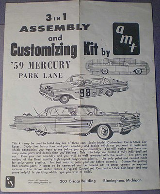 Aluminum Model Toys - AMT 1959 Mercury 3-in-1 kit. Design, logo, wording and 3-in-1 concept were identical to the SMP brand.