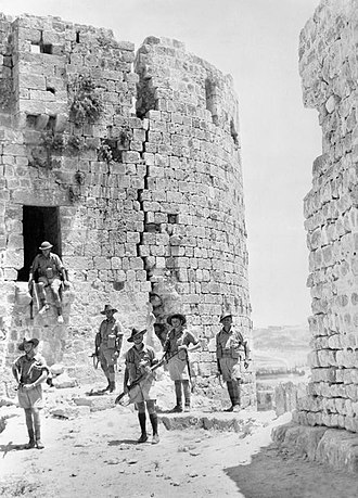 Syria–Lebanon Campaign - Australian troops among the ruins of the old Crusader castle at Sidon, Lebanon, July 1941