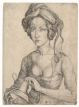 Martin Schongauer - A Foolish Virgin, engraving