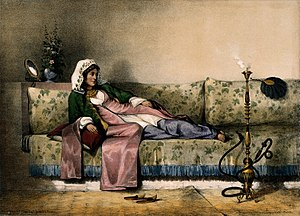 Émile Prisse d'Avennes - Image of a reclining Muslim woman from the Oriental Album.