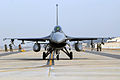A U.S. Air Force F-16 Fighting Falcon aircraft assigned to the 35th Fighter Squadron taxis on the runway for joint flying operations during a peninsula wide operational readiness exercise at Kunsan Air Base 080117-F-QA315-014.jpg