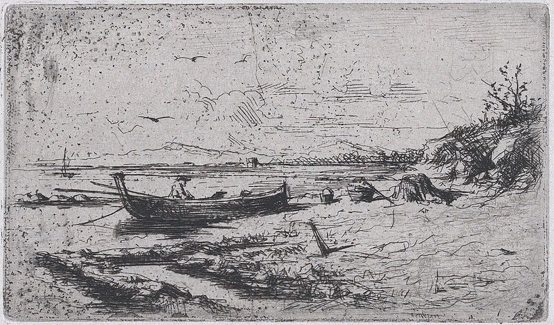 File:A boat near the shoreline of a beach or a river MET DP876127.jpg